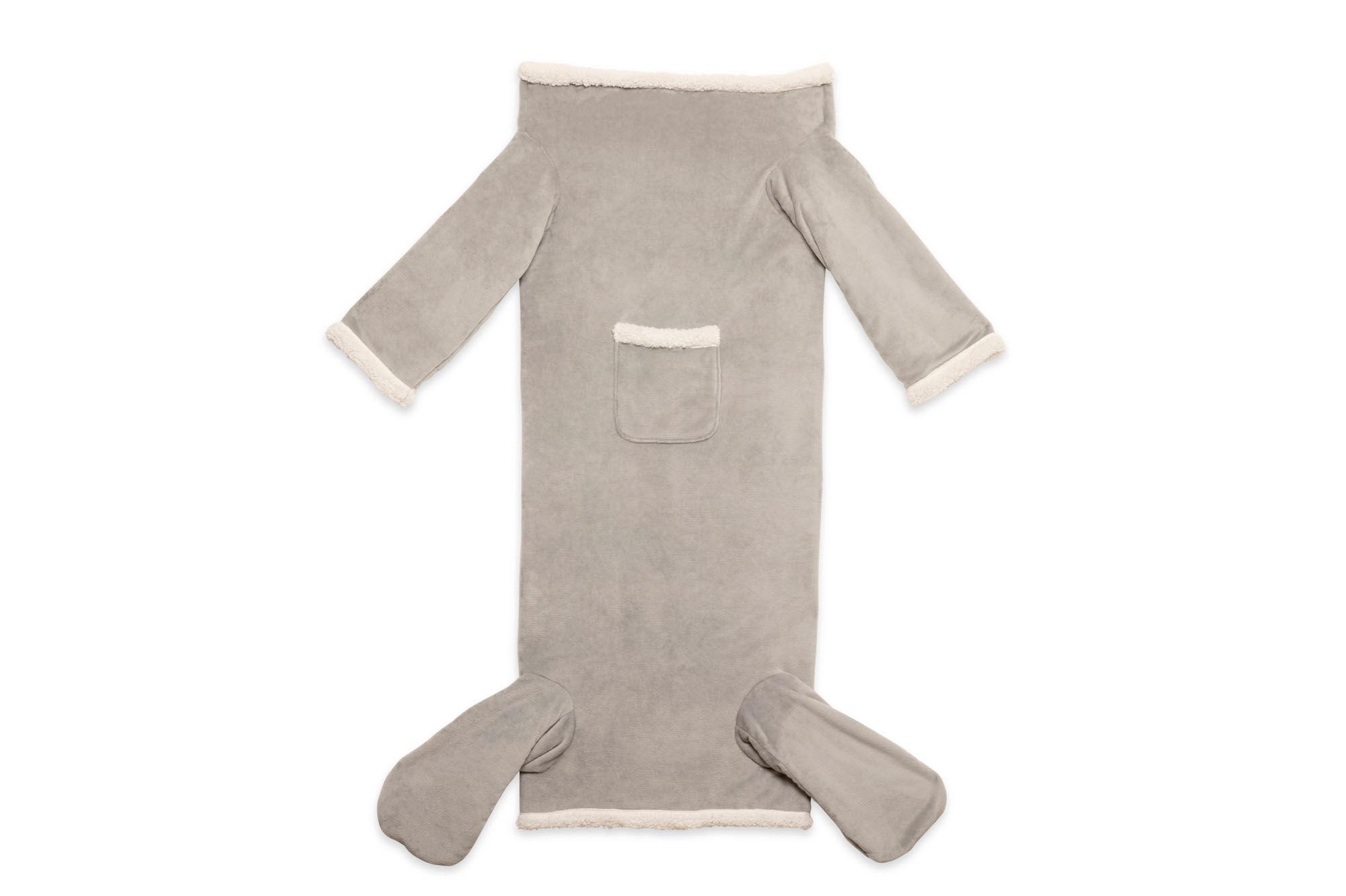 Couverture avec manches et poches pour les pieds, gris , large