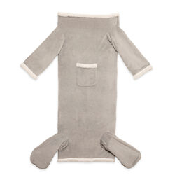 Coperta con maniche e tasche per piedi grigia, grigio, large