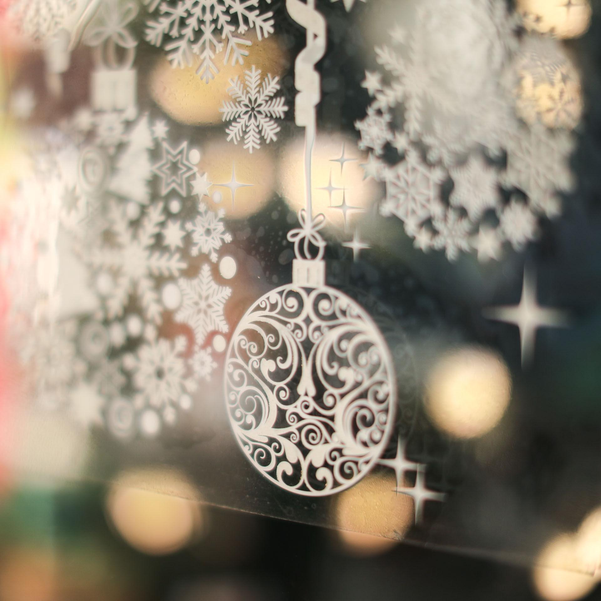 Vitrophanie de Noël avec effet neige, , large