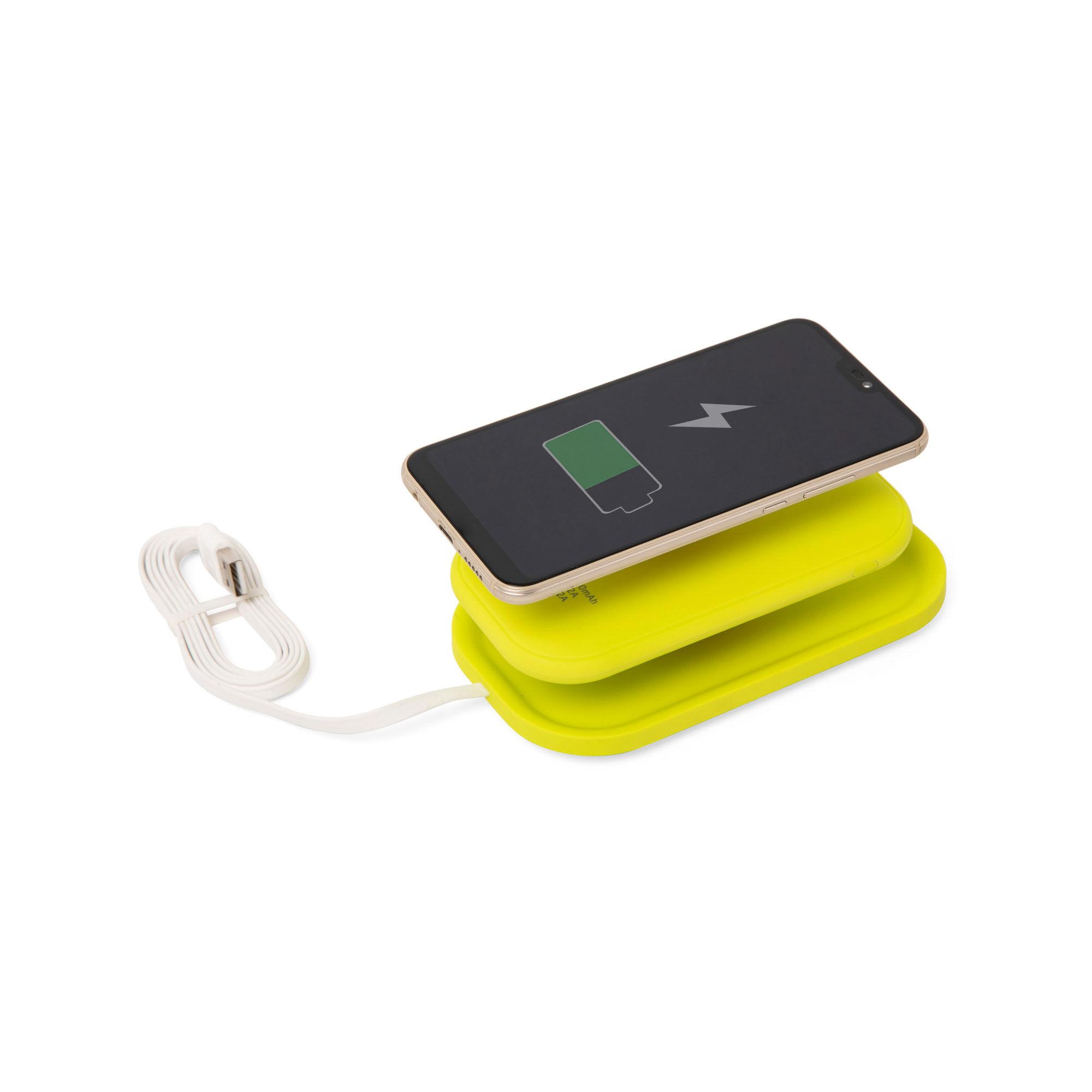 Batterie externe de 5000 mAh avec support sans fil et technologie Qi, jaune, large