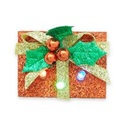 Spilla natalizia decorativa luminosa da giacca, pacco regalo, , large