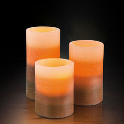 Set 3 candele a batteria marroni, , large