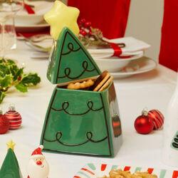 Biscottiera in ceramica albero di Natale, , large