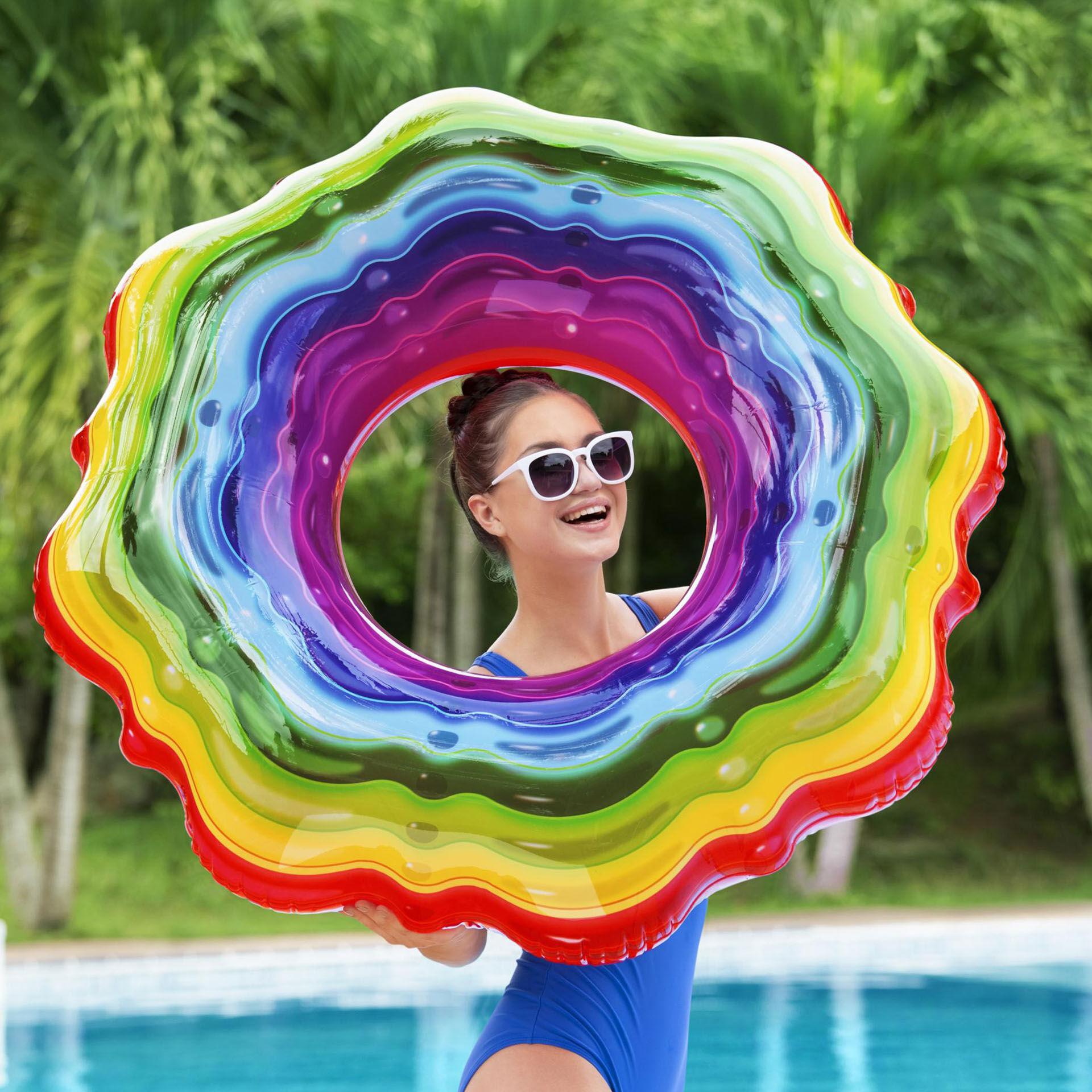 Bouée gonflable - Gelée arc-en-ciel, , large