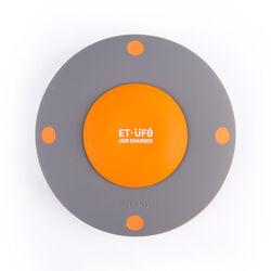 Caricatore 5 porte USB a forma di ufo, colore grigio e arancione, grigio, large