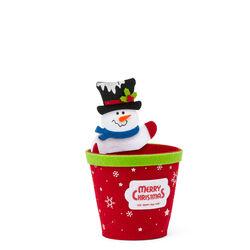 Portavaso natalizio in feltro, Pupazzo di neve, , large