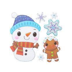 Vetrofanie natalizie in rilievo, Pupazzo di neve e Omino di marzapane, , large
