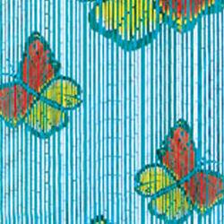 Tenda in vero bambù con farfalle colorate, , large