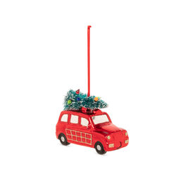 Decorazione natalizia auto in vetro - rossa, rosso, large