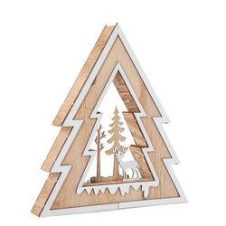 Decorazione in legno a forma di albero di Natale con luci, , large