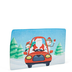 Tappetino in memory foam - Babbo Natale e pupazzi di neve in macchina celeste, , large