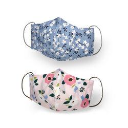 Mascherina facciale in cotone lavabile riutilizzabile set da 2 pz, fiori, , large