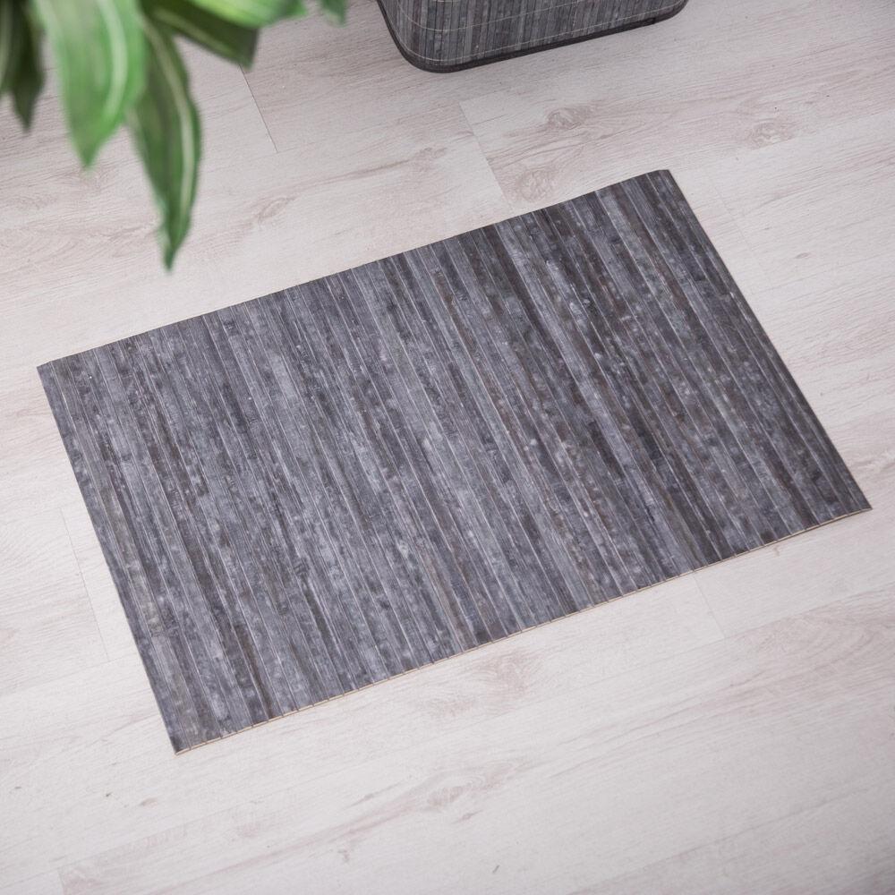 Tapis en bambou antidérapant 80 cm couleur bois, gris , large