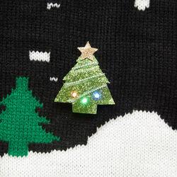 Spilla natalizia decorativa luminosa da giacca, abete, , large