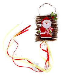 Decorazione natalizia da appendere con legno e perline, , large