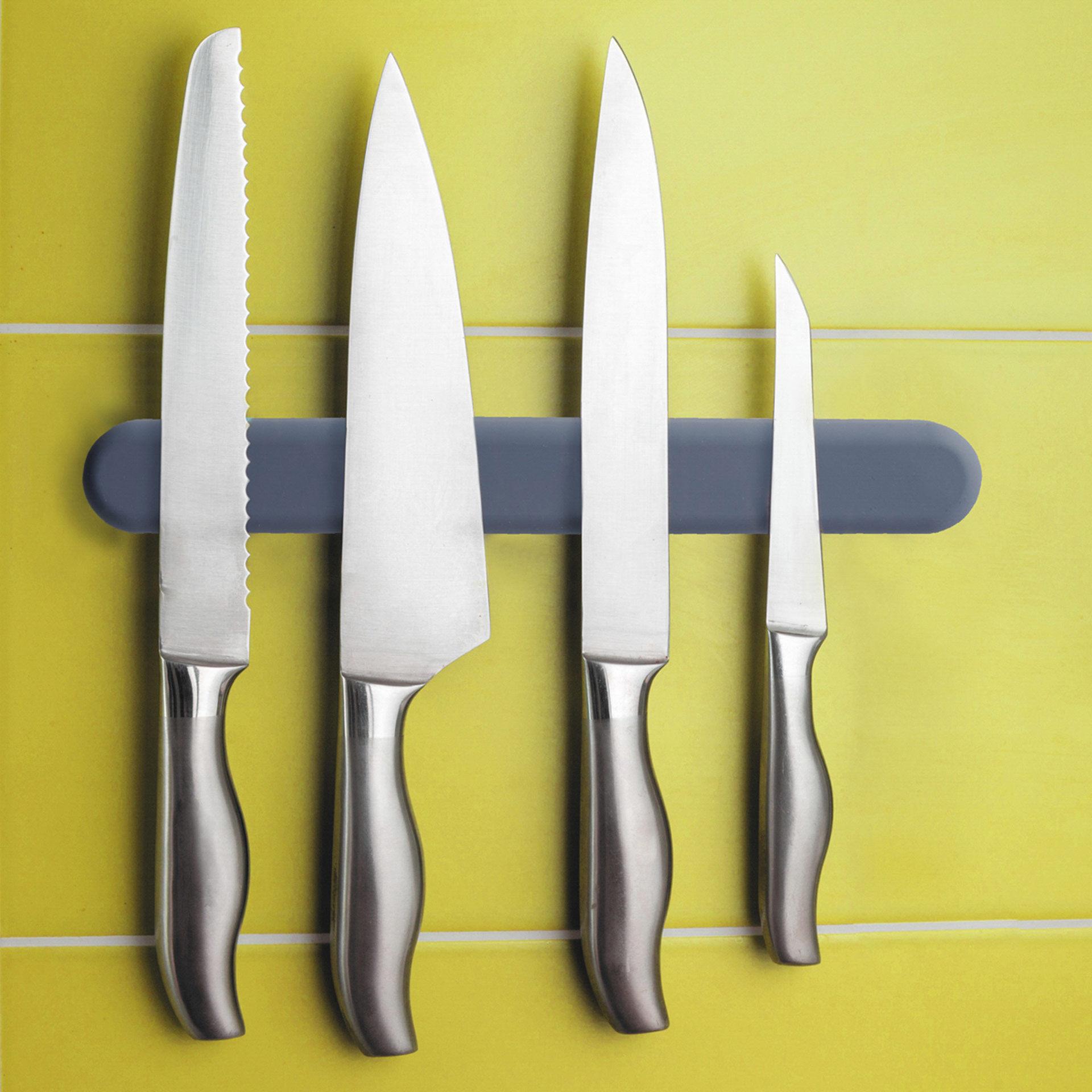 Barre magnétique pour couteaux recouverte de silicone, , large