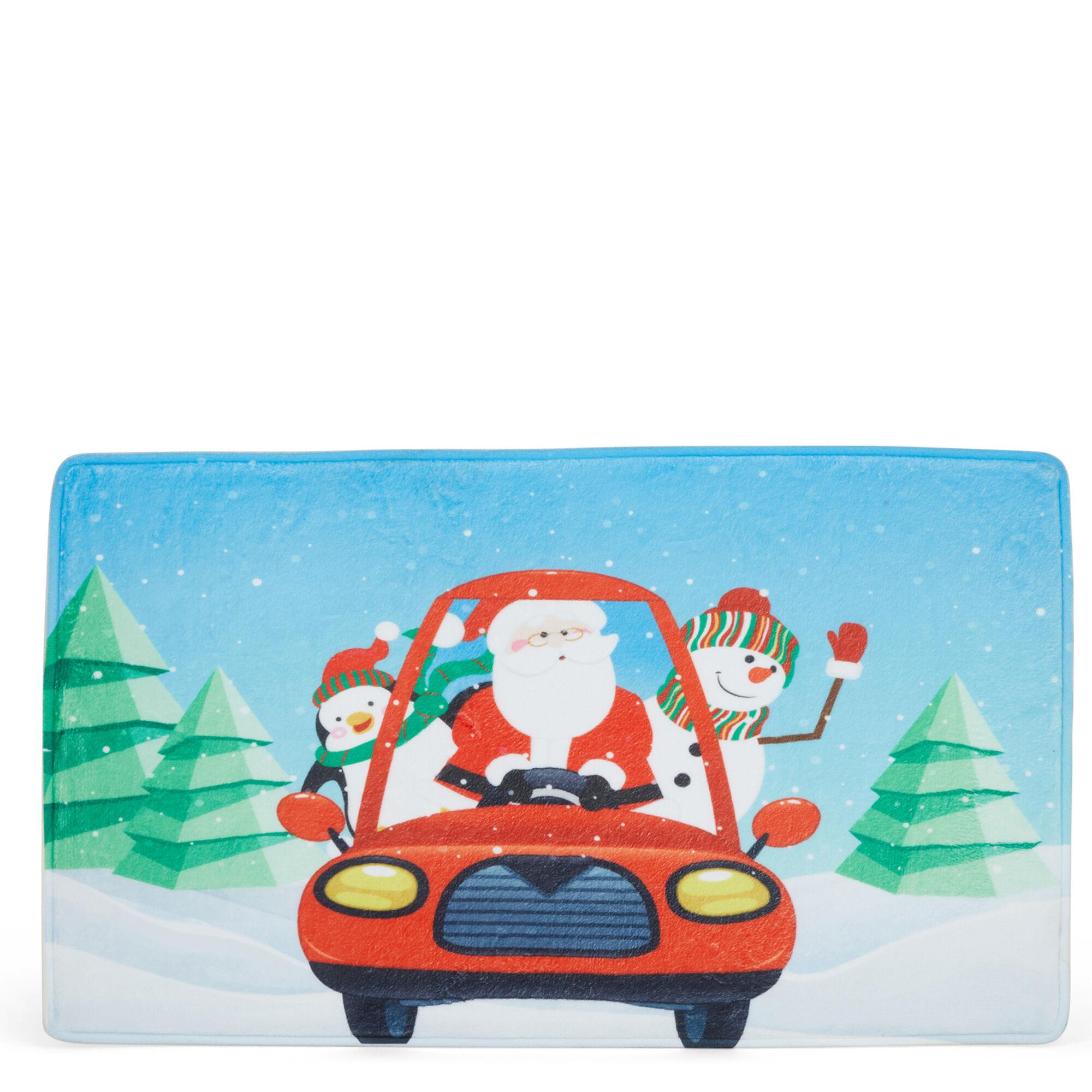 Tapis en mousse à mémoire de forme - Père Noël voiture- celeste, , large