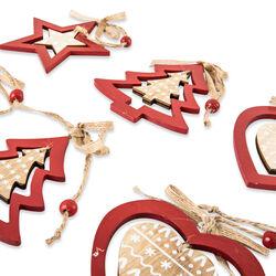 Set 6 decorazioni natalizie in legno da appendere, , large