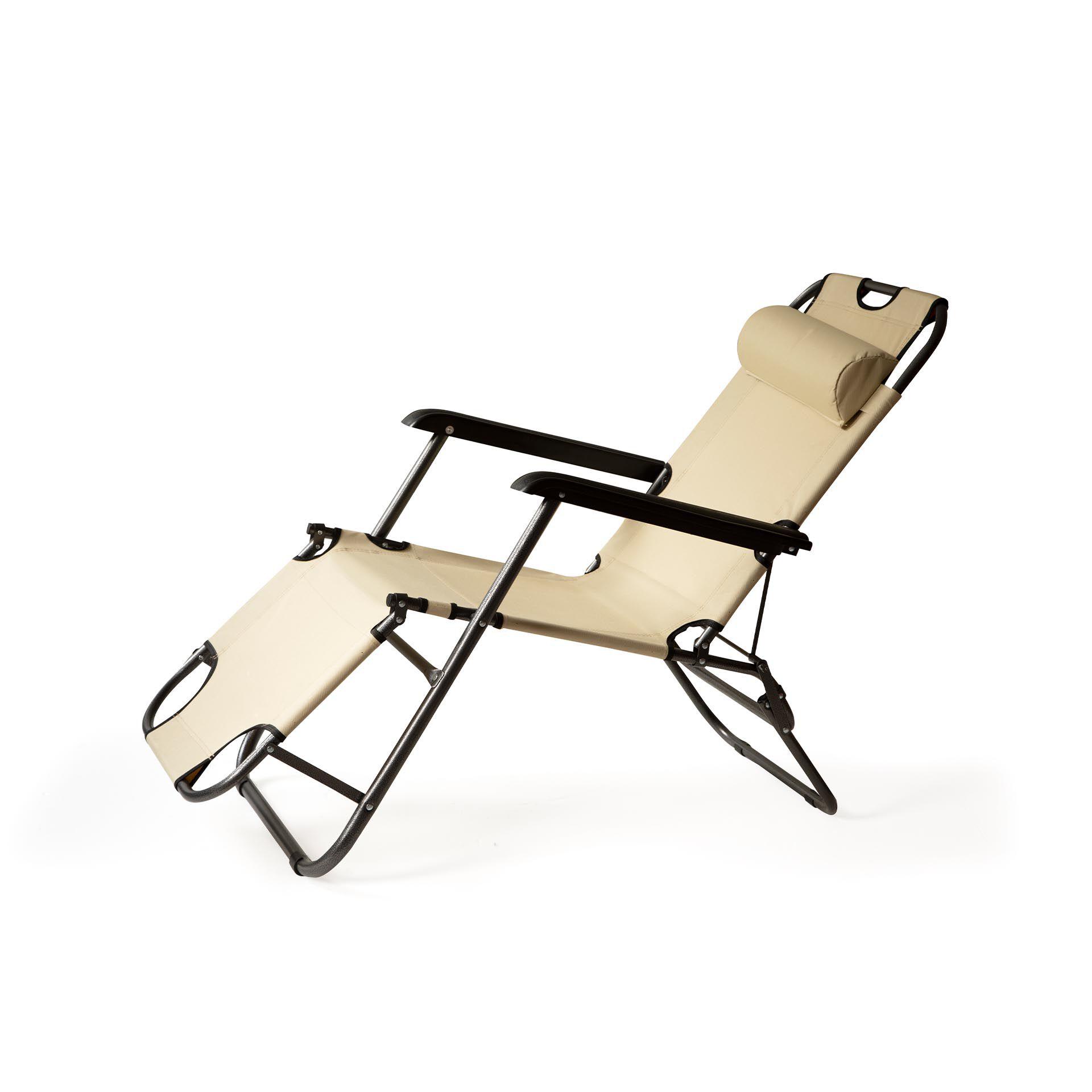Chaise longue pliante et inclinable, , large