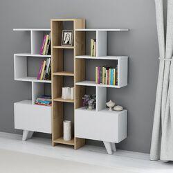 HOMEMANIA Libreria asrin, bianco, rovere, , large