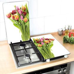 Set di due copri-fornelli in vetro - Tulipani, , large