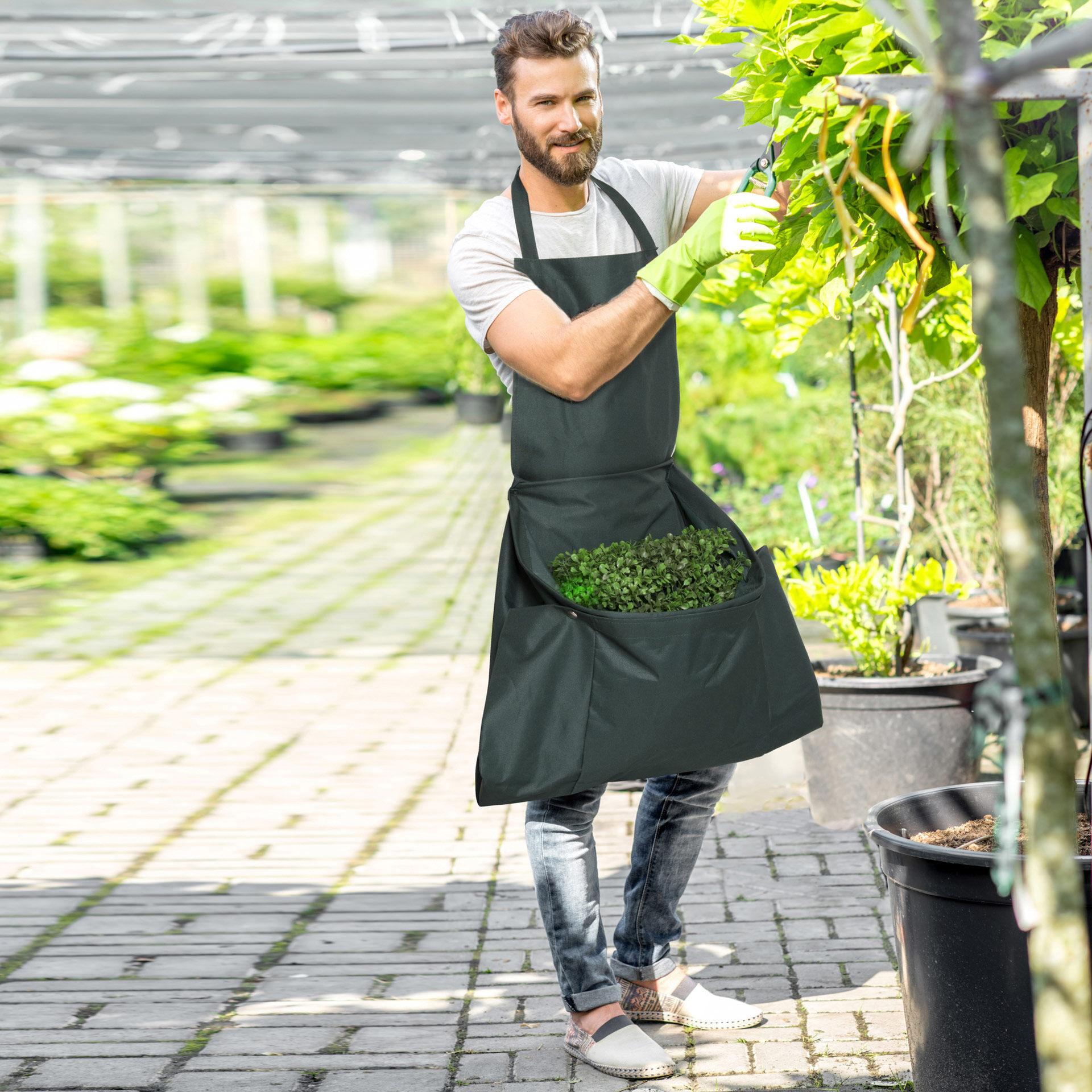 Tablier de jardinage avec poche de collecte de feuilles, , large