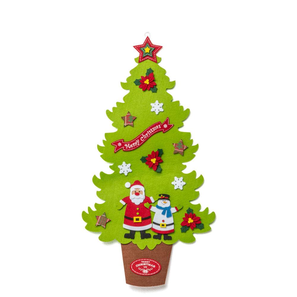 Sapin de Noël en feutre à suspendre 73 cm, vert, large