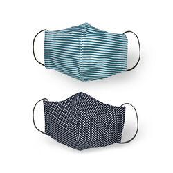 Mascherina facciale in cotone lavabile riutilizzabile set da 2 pz, righe/ stelle, , large