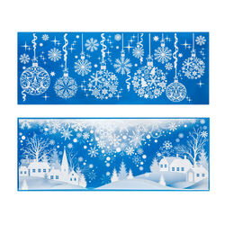 Vetrofanie natalizie palline effetto neve, , large