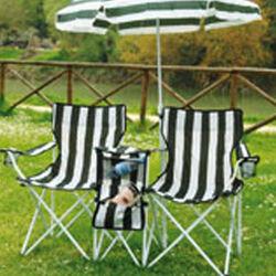 Doppia sedia pieghevole con ombrellone, , large