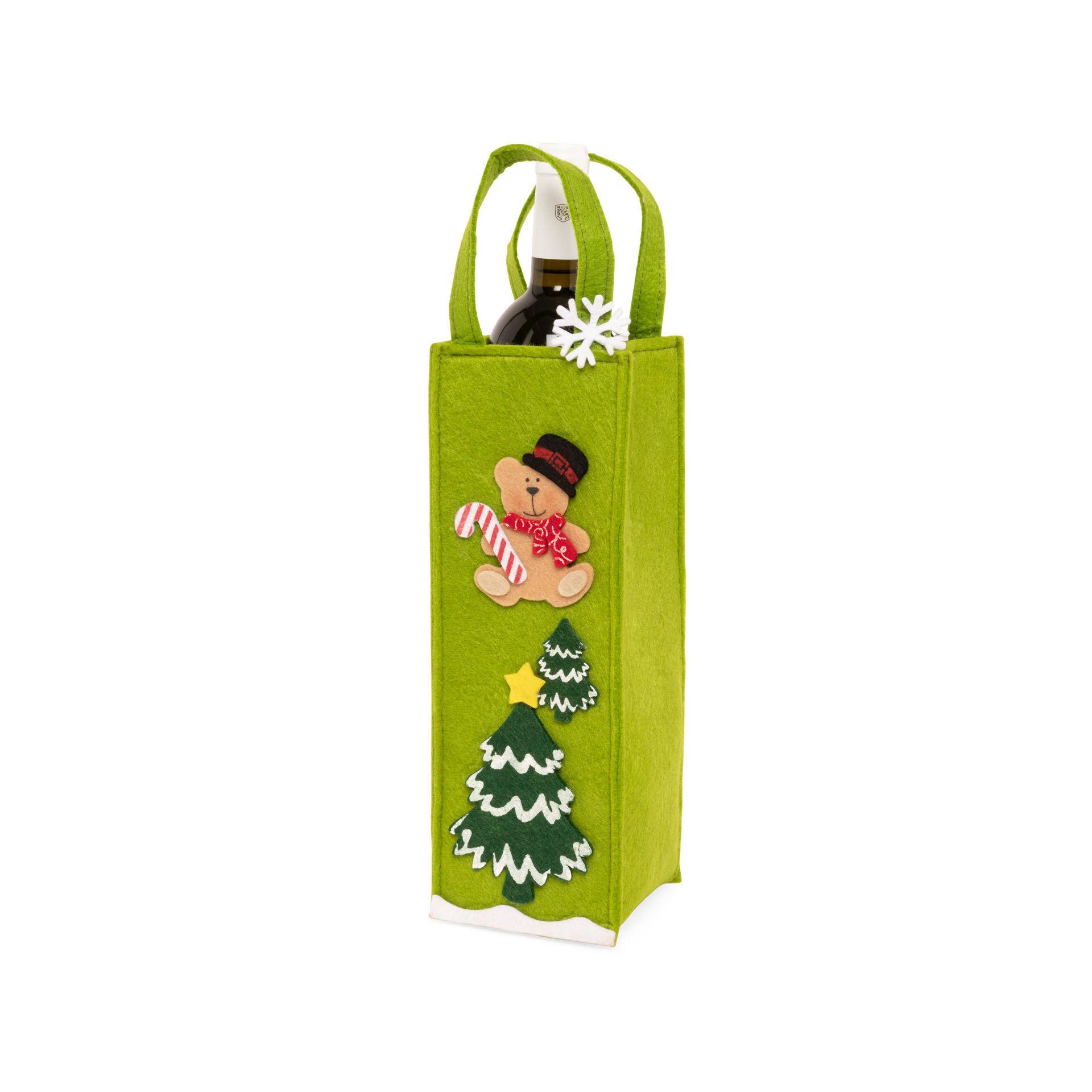 Sac porte-bouteille de Noël - vert clair, vert menthe clair, large