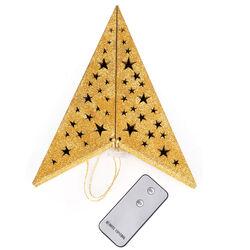 Stella oro pieghevole con 10 led telecomandati ir, , large