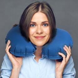 Cuscino gonfiabile da viaggio per il collo colore azzurro, azzurro, large
