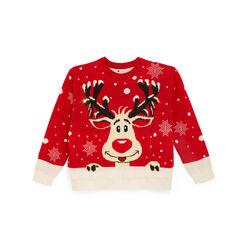 Maglione natalizio con luci, renna, , large