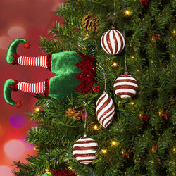 Palline di Natale a righe con glitter - Set da 4 pz, , large