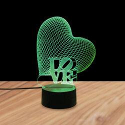 Lampada da tavolo 3D LED cambia colore - Cuore, , large