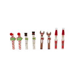 Mollette natalizie in legno - Set da 8 pz, , large