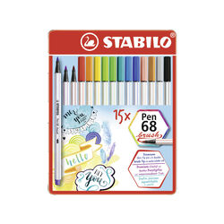 Pennarello Premium con punta a pennello-STABILO Pen 68 brush-Scatola in metallo, , large