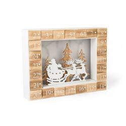 Calendario dell'avvento paesaggio natalizio in legno con LED, , large