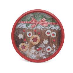 Piatto in latta con decorazioni natalizie, , large