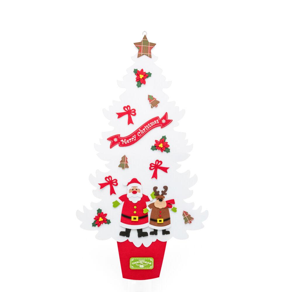 Sapin de Noël en feutre à suspendre 92cm, blanc, large