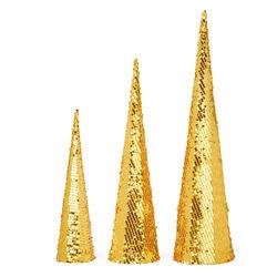 Coni luminosi a batterie - Set da 3 pz, colore oro, oro, large