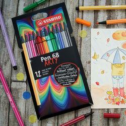 STABILO Pen 68 - ARTY - Astuccio da 12 con appendino - 12 colori assortiti, , large