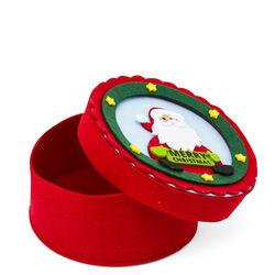 Scatola natalizia tonda in feltro Babbo Natale, , large