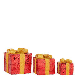 Pacchi regalo decorativi luminosi a batterie, Set da 3 pz, , large