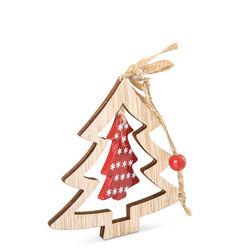 Decorazioni natalizie in legno - set da 6 pz - effetto legno, legno, large