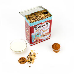 Scatola per cereali in latta vintage, , large
