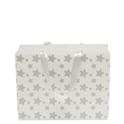 Sacchetto regalo con decorazione a stelle color argento, , large