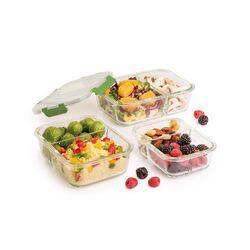 Porta pranzo in vetro - set da 3 pz, , large