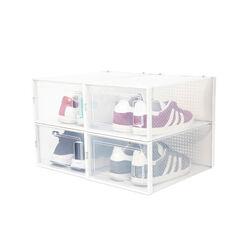Set 4 scatole impilabili per scarpe, , large